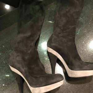 D&G suede grey/black boots